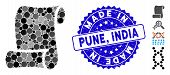Collage Script Icon And Grunge Stamp Seal With Made In Pune, India Phrase. Mosaic Vector Is Created  poster