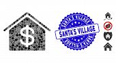 Mosaic Real Estate Icon And Corroded Stamp Seal With Santas Village Text. Mosaic Vector Is Designed  poster