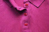 Polo Shirt Detail With Buttons, Basic Purple T-shirt Design. Unbuttoned Shirt, Colorful Cotton Fabri poster