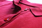 Burgundy Red Polo Shirt, Casual Clothes Close Up. Vivid Colorful T-shirt Low Angle View, Plain Dark  poster