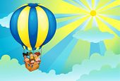 illustration of kids in a hot air balloon