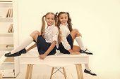 Rebellious Spirit. School Club. Little Schoolgirls Classmates Friendly Kids. Schoolgirls Friends Sit poster