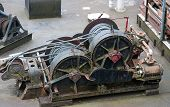Industrial Cable Puller Winch With Cables Wound Up On The Two Main Spools.  Heavy Duty Machinery Equ poster