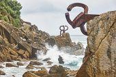Donostia Coastline Landmark Rock Formations. Peine Del Viento. Euskadi, Spain poster
