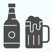 Beer Bottle And Mug Solid Icon. Bottle And Glass Of Beer Vector Illustration Isolated On White. Beer poster