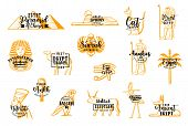Egyptian Vector Travel Icons. Pyramid Of Cheops, Sphinx Giza, Egyptian Cat, Priest. Tutankhamun And  poster