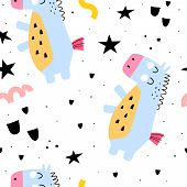 Seamless Pattern With Cartoon Ponies, Decor Elements. Colorful Magic Vector For Kids, Flat Style. Ha poster