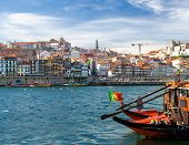 Portugal, Porto, Colored Houses Of Old Town In Porto, Colorful Boats On Douro River, Porto By River, poster