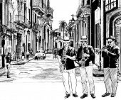 Illustration of a jazz band in a street of Cuba with saxophone and trumpet