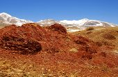 Natural Red Mountains And Snow Peaks In Kyzyl-chin Valley, Also Called As Mars Valley. Altai, Siberi poster