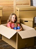 Delivery Service. Box Package And Storage. Small Child Prepare For Relocation. Big Storage Space. Re poster