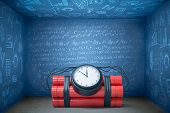 3d Rendering Of Huge Time Bomb Lying On Floor In Blue Room With Walls All Covered In Algebraic Formu poster