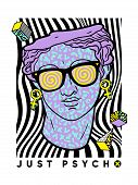 Acid Ancient Sculpture Illustration In Trendy Psychedelic Cosmic Style. poster