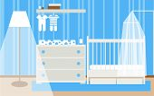 Interior Of A Childrens Room For A Baby Boy. Composition Of A Bed, Chest Of Drawers, Changing Table  poster