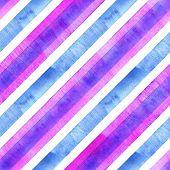 Watercolor Blue Purple Pink Diagonal Stripes On White Background. Striped Seamless Pattern. Watercol poster