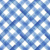 Watercolor Diagonal Stripe Plaid Seamless Texture. Indigo Blue Stripes On White Background. Watercol poster