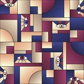 Trendy Pattern With Eyes In Geometric Shapes Grid Scandinavian Fashion Retro Textile Print. Modern B poster