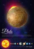 Pluto Planet Colorful Poster With Solar System. Galaxy Discovery And Exploration. Realistic Planetar poster