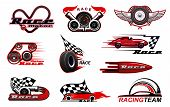 Car Motor Race And Motorsport Icons. Vector Racing Symbols, Badges With Checkered Flag, Winged Wheel poster