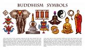Buddhism Religion And Culture Symbols, Characters. Vector Buddha And Lotus Flower, Yoga Meditation P poster