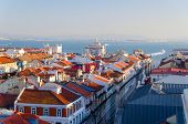 view of Lisbon city from Santa Justa Elevator, Portugal