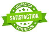 Satisfaction Ribbon. Satisfaction Round Green Sign. Satisfaction poster