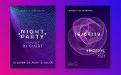 Trance Event. Dynamic Fluid Shape And Line. Trendy Show Magazine Set. Neon Trance Event Flyer. Techn poster