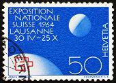 Postage stamp Switzerland 1963 Globe and Moon