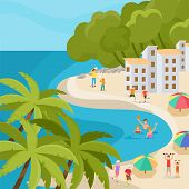 Beach Vacation And People Activity At Seaside Hotel Vector Illustration. Family Holidays And Sports  poster