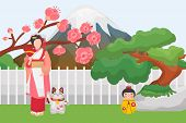 Japan Symbols Landmarks Vector Illustration Isolated. Traditional Japanese Asian Characters Geisha,  poster