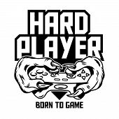 Hard Player Gamer Hands Of Green Monster Dinosaur T-rex Which Keep Gamepad Joystick Controller And P poster