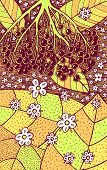 Elderflower - Floral Illustration. Colorful Plant Drawing. Graphic Psychedelic Multicolored Line Art poster