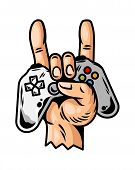Hand Which Keep Modern Gamepad Joystick Game Controller For Play Video Game And Show Rock Sign Cool  poster