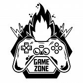 Game Design Icon Logo Of Gamepad For Play Arcade Video Game For Gamer Modern Vector Illustration Wit poster