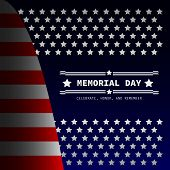 Memorial Day - Remember And Honor With Usa Flag, Vector Illustration. poster