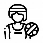 Woman Volleyball Player Icon Vector. Outline Woman Volleyball Player Sign. Isolated Contour Symbol I poster