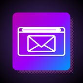 White Line Mail And E-mail Icon Isolated On Black Background. Envelope Symbol E-mail. Email Message  poster