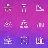 Urban Icons Line Style Set With Escalator, Mountains, Recycle And Other Reuse Elements. Isolated Ill poster