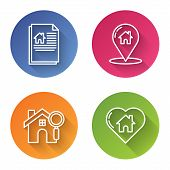 Set Line House Contract, Map Pointer With House, Search House And House With Heart Shape. Color Circ poster