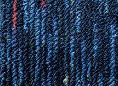 Closeup Dark Blue,navy Blue Carpet Sample Texture Backdrop. Dark Blue,blue,red With Grey Strip Line  poster