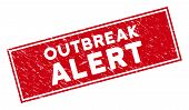 Outbreak Alert Watermark With Frame. Red Vector Rectangle Scratched Watermark With Outbreak Alert Ph poster