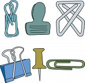 Vector Paper Clips Fasteners Thumb Tacks In Green Yellow Blue Gray Icon Set On White Background. Cli poster