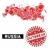 Outbreak Collage Russia Map And Red Distressed Stamp Watermark With Outbreak Words. Russia Map Colla poster