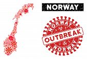 Contagion Collage Norway Map And Red Grunge Stamp Seal With Outbreak Text. Norway Map Collage Create poster