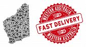 Delivery Collage Western Australia Map And Corroded Stamp Seal With Fast Delivery Words. Western Aus poster