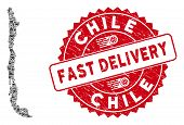 Delivery Mosaic Chile Map And Grunge Stamp Seal With Fast Delivery Words. Chile Map Collage Created  poster