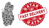 Shipping Collage Qatar Map And Grunge Stamp Seal With Fast Delivery Phrase. Qatar Map Collage Formed poster