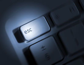 pic of keyboard keys  - Spin effect applied to escape key on laptop keyboard - JPG