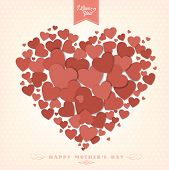 Happy Mothers's Day Typographical Background With Hearts