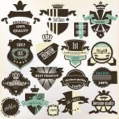 Collection Of Labels  Premium, Best, High And Genuine Quality In Vintage Style
